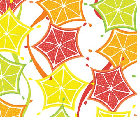 Floating_Citrus_Stars fabric by luana_life on Spoonflower - custom fabric