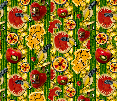 Surreal Fruit Stripe fabric by madam0wl on Spoonflower - custom fabric