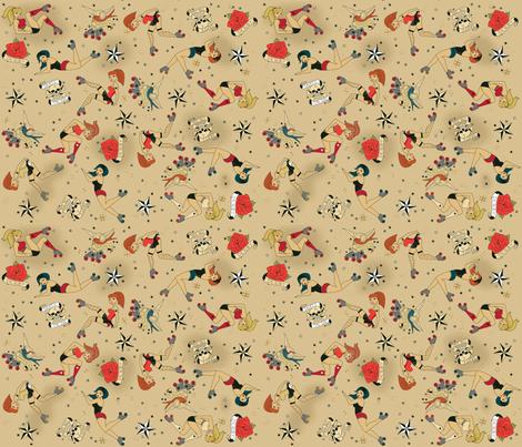 Roller Derby Girls fabric by cynthiafrenette on Spoonflower - custom fabric