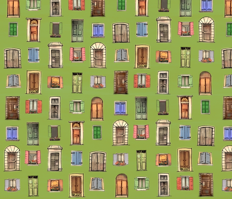 Summer in the courtyard - green fabric by janicesheen on Spoonflower - custom fabric