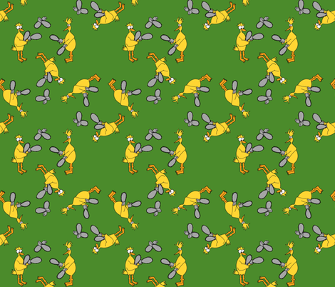 Chickens & Chainsaws - Green fabric by evenspor on Spoonflower - custom fabric