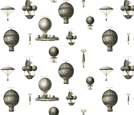 Vintage hot air balloons fabric by ravynka on Spoonflower - custom fabric