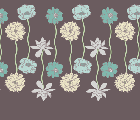Flower Row fabric by leighr on Spoonflower - custom fabric