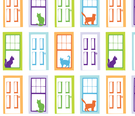Cat in the Window fabric by audreyclayton on Spoonflower - custom fabric
