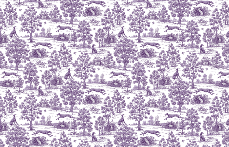 Purple Greyhound Toile ©2010 by Jane Walker fabric by artbyjanewalker on Spoonflower - custom fabric