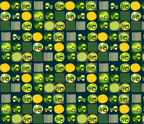 Farm Tractor Navy Field fabric by heathermann on Spoonflower - custom fabric