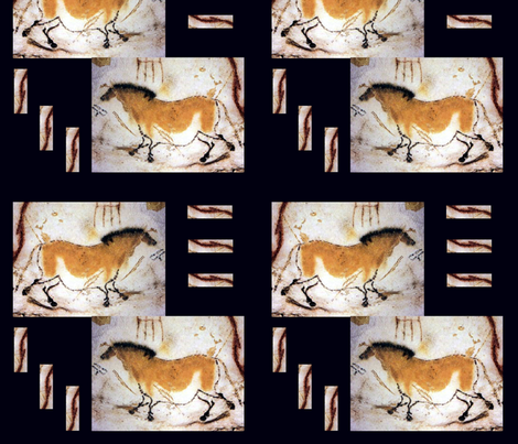 Cave Scribbles Russet Horse on Black fabric by karendel on Spoonflower - custom fabric