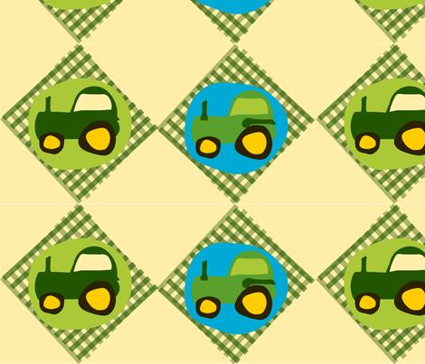 Tractor Gingham fabric by heathermann on Spoonflower - custom fabric