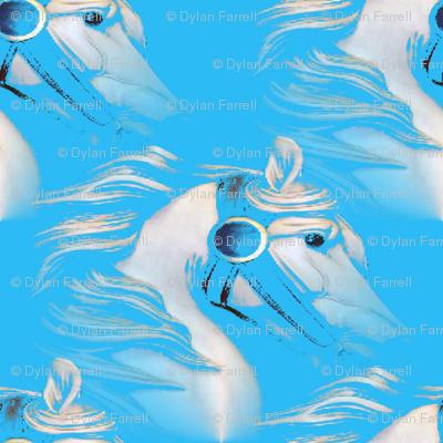 White horse on Blue