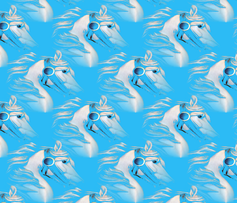 White horse on Blue fabric by farrellart on Spoonflower - custom fabric