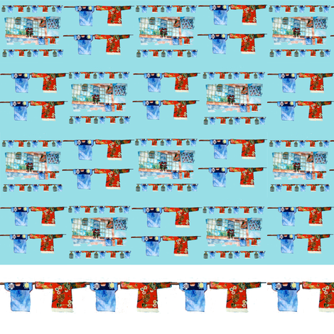 Hong Kong Wash Aqua fabric by karenharveycox on Spoonflower - custom fabric