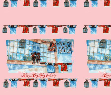 Window Washline Pink fabric by karenharveycox on Spoonflower - custom fabric