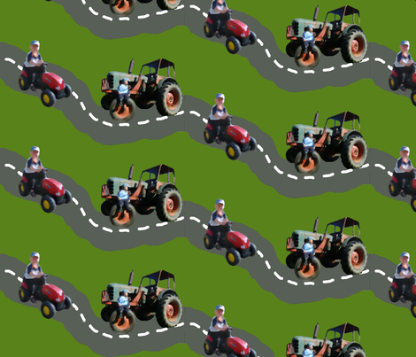 Terrific Tractor Traffic fabric by hevilja on Spoonflower - custom fabric
