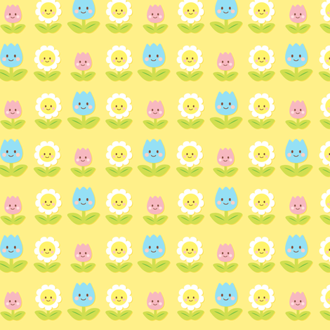 Happy Flowers fabric by smilerecipe on Spoonflower - custom fabric