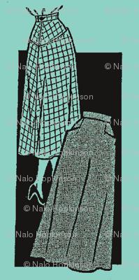 Vintage skirt pattern-blue