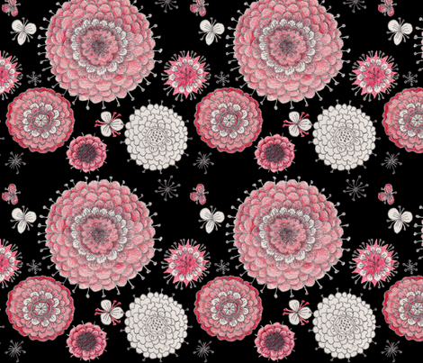 Chrystanthemums on Black fabric by penina on Spoonflower - custom fabric