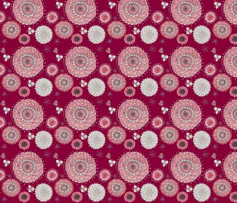 Chrystanthemums on Maroon fabric by penina on Spoonflower - custom fabric