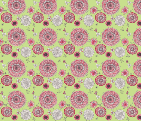 Chrystanthemums on Green fabric by penina on Spoonflower - custom fabric