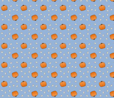 Pumpkins & Seeds - Blue fabric by lowa84 on Spoonflower - custom fabric