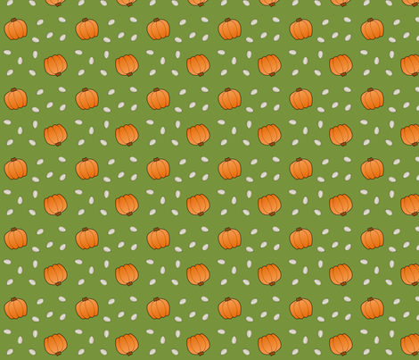Pumpkins & Seeds - Green fabric by lowa84 on Spoonflower - custom fabric