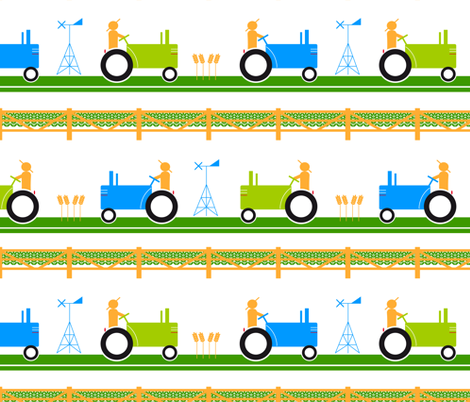 Seventies Tractors  fabric by fannie_m on Spoonflower - custom fabric