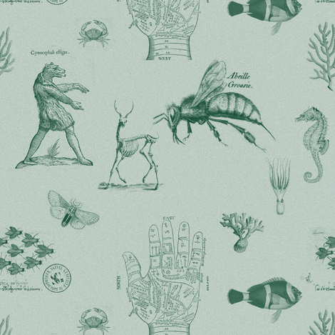 vintages green fabric by ravynka on Spoonflower - custom fabric