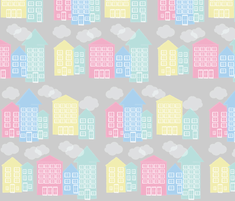 ice cream houses - grey fabric by mondaland on Spoonflower - custom fabric