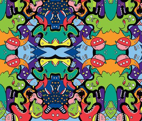 Monsters Eating Monsters fabric by emmaleeerose on Spoonflower - custom fabric
