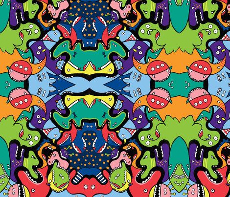 Monsters Eating Monsters Small fabric by emmaleeerose on Spoonflower - custom fabric