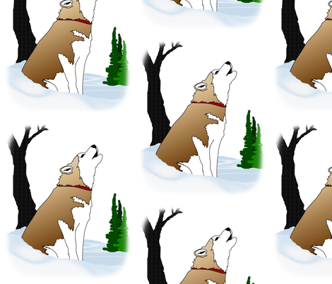 Siberian Husky Red & White howling in the winter woods  fabric by bonz_fabric_ on Spoonflower - custom fabric