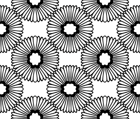 Flower - Black & White fabric by elephantandrose on Spoonflower - custom fabric