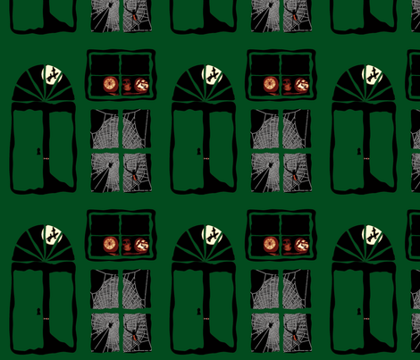 Spooky Doors and Windows - Green fabric by upcyclepatch on Spoonflower - custom fabric