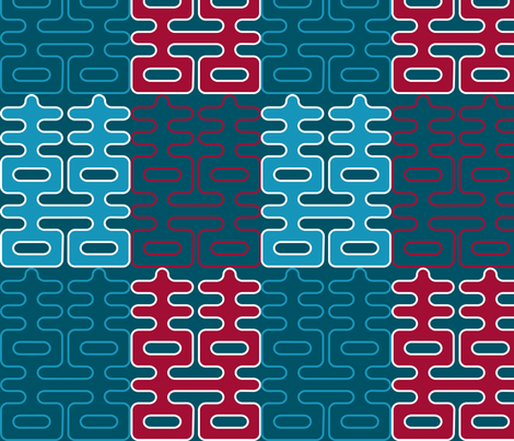 Double Happiness (Teal and Red) fabric by nekineko on Spoonflower - custom fabric