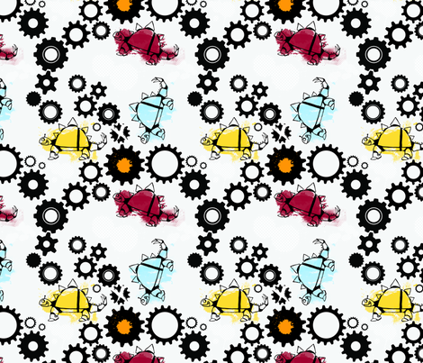 Robo-saurs fabric by hannah_beisang_designs on Spoonflower - custom fabric
