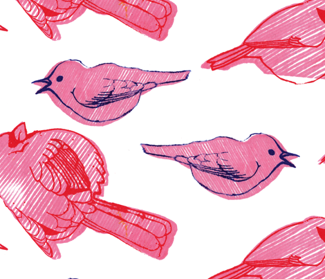 large stripy birdies fabric by leonielovesyou on Spoonflower - custom fabric