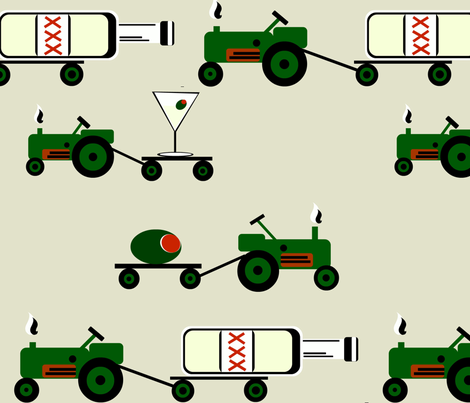 Happy Hour Tractor Pull fabric by bee_smiles on Spoonflower - custom fabric