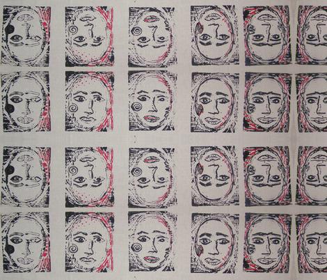 Face the Faces-267 fabric by kkitwana on Spoonflower - custom fabric