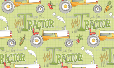 T is for Tractor - CHARTREUSE