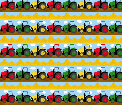 Tractors On Parade fabric by debbiek on Spoonflower - custom fabric