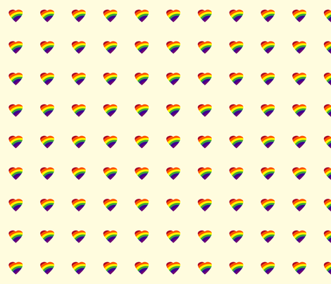 Rainbow Hearts on White fabric by monique_lula on Spoonflower - custom fabric