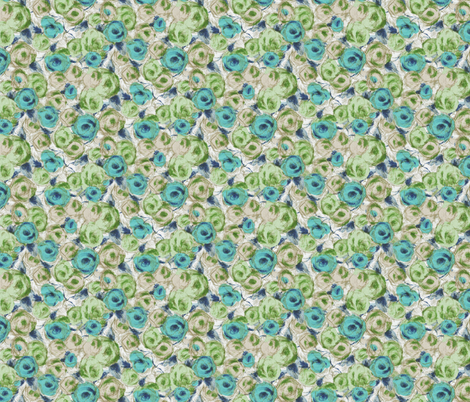 SketchRoses-Aqua fabric by ashland_house_designs on Spoonflower - custom fabric