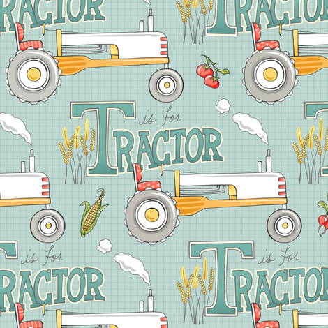 T is for Tractor - TEAL fabric by pattysloniger on Spoonflower - custom fabric