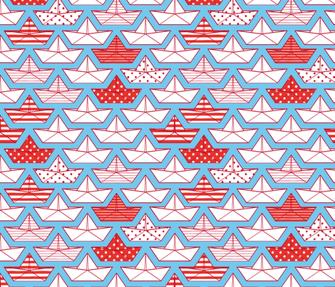 minis-bateaux-rouges fabric by milto42 on Spoonflower - custom fabric