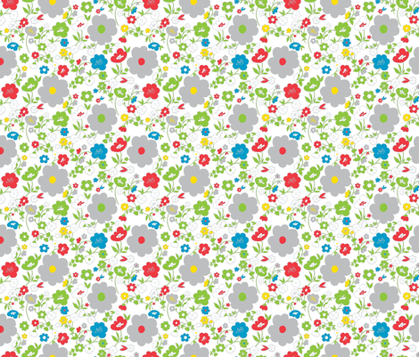 Light Folklore Flowers - two fabric by annosch on Spoonflower - custom fabric