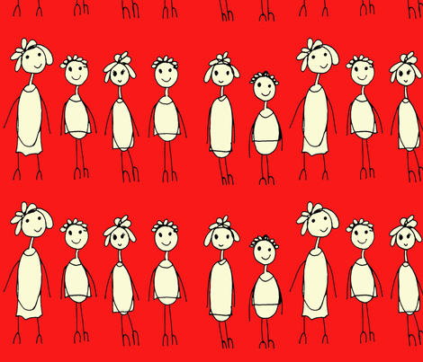 Kids in a Row fabric by zhcollection on Spoonflower - custom fabric