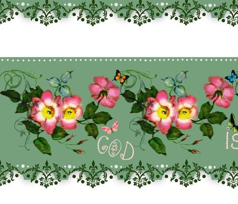 God is Love rosebud Border fabric by paragonstudios on Spoonflower - custom fabric