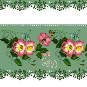 God is Love rosebud Border