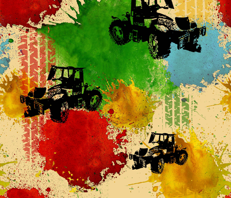 Tractor fabric by blingmoon on Spoonflower - custom fabric