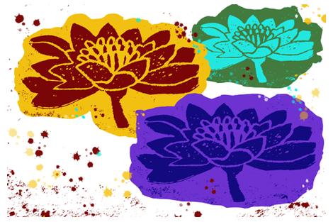 block print Lotus Trio fabric by bad_penny on Spoonflower - custom fabric