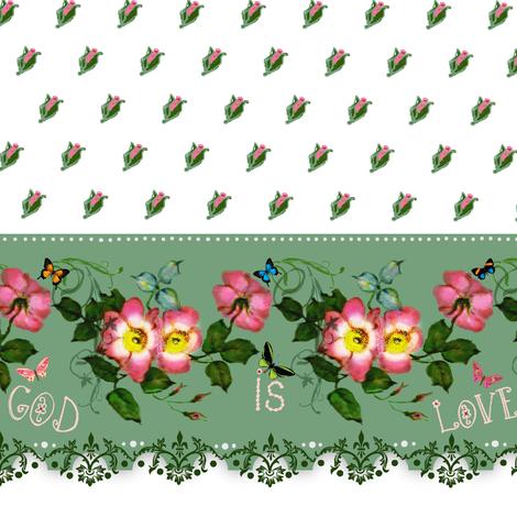 "God is Love   ""petite rosebuds"" Border fabric by paragonstudios on Spoonflower - custom fabric"